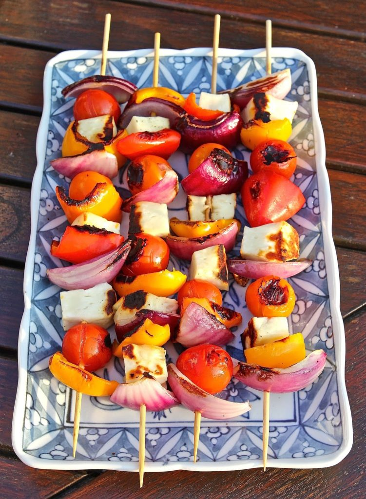 Halloumi and Sweet Summer Veg Kebabs from Gluten Free Alchemist for Simple and in Season on feedingboys.co.uk
