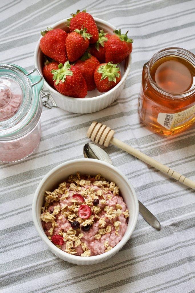 Strawberry Fields Overnight Oats from Jo's Kitchen Larder for Simple and in Season on feedingnboys.co.uk