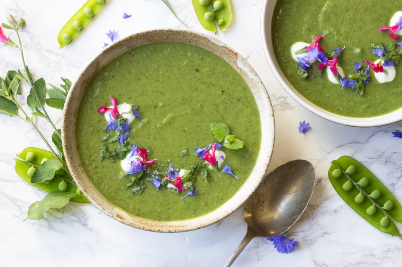 Pea and Samphire Soup from Proper Foodie for Simple and in Season on feedingboys.co.uk