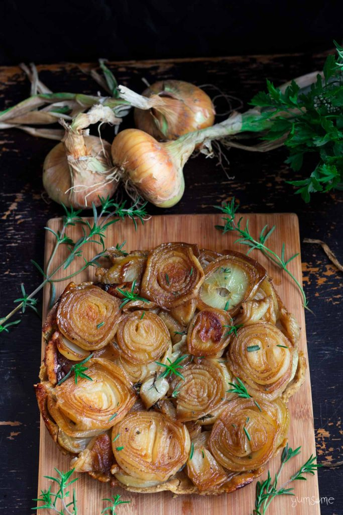 Caramelised Onion Tarte Tatin from Yumsome for Simple and in Season on feedingboys.co.uk