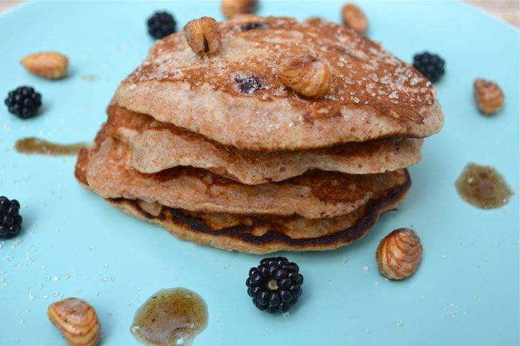 Blackberry and Apple Spelt Pancakes from Tin and Thyme for Simple and in Season on feedingboys.co.uk