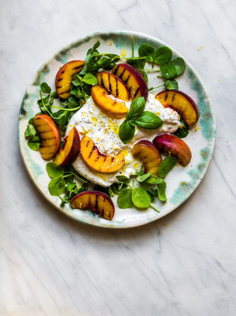 Peach with Burrata and Pea Shoots from Natural Kitchen Adventures for Simple and in Season on feedingboys.co.uk