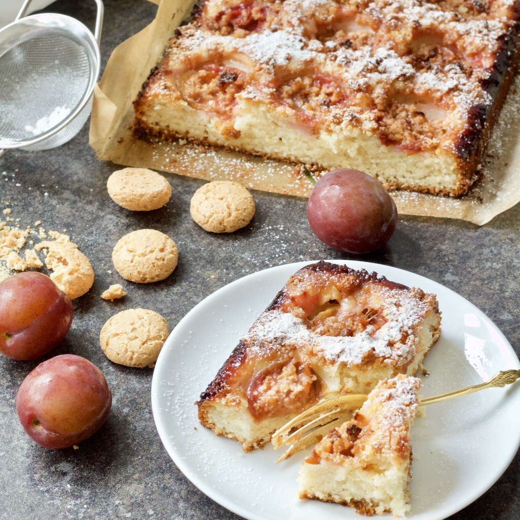 Italian plum and almond cake from Jo's Kitchen Larder for Simple and in Season on feedinboys.co.uk