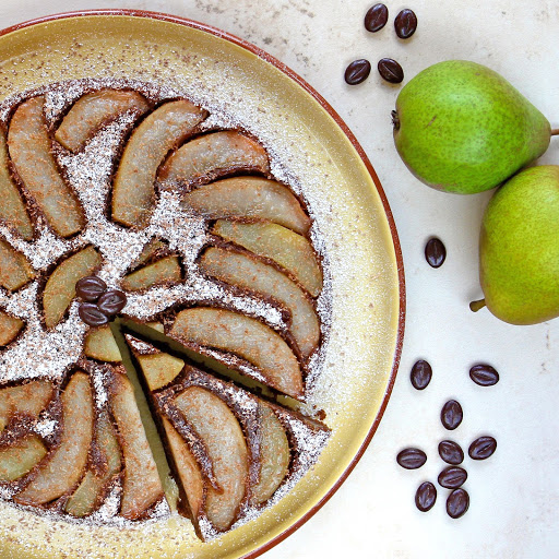 Mocha Pear Upside Down Cake from The Gluten Free Alchemist for Simple and in Season on feedingboys.co.uk