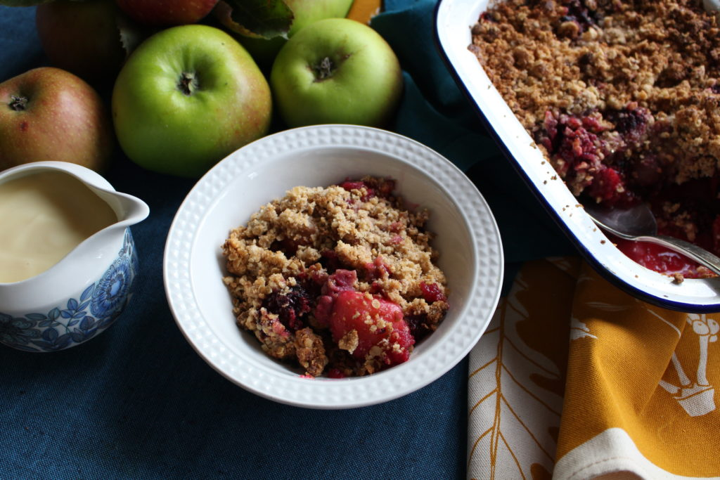 Gluten Free Peanut Butter, Apple and Blackberry Crumble from Beach Hut Cook for Simple and in Season on feedingboys.co.uk
