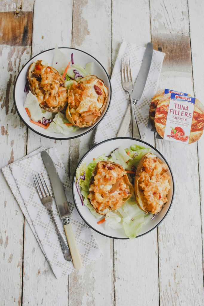 Twice Baked Jacket Potatoes with Princes Mexican Tuna Fillers on feedingboys.co.uk