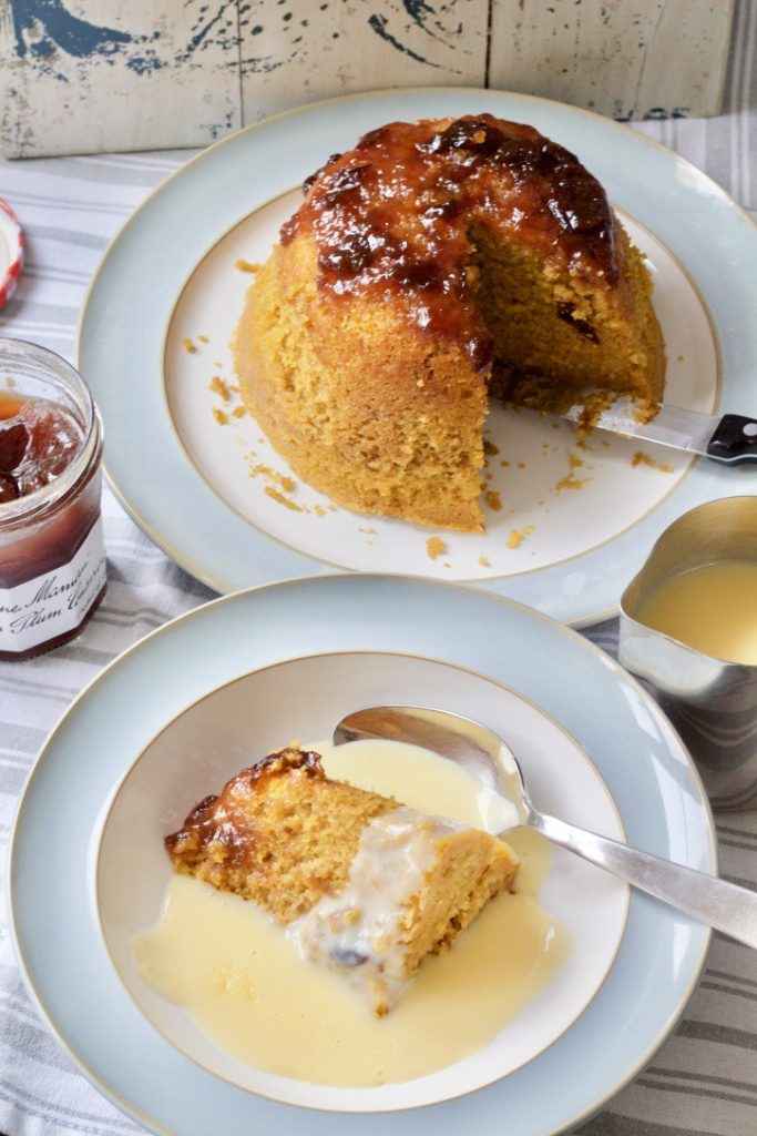 Pumpkin & Plum Conserve Steamed Pudding by Jo's Kitchen Larder for Simple and in Season on feedingboys.co.uk