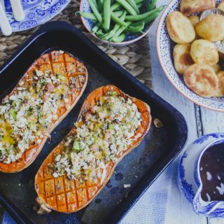 Vegetarian Roast: Stuffed Butternut Squash on feedingboys.co.uk