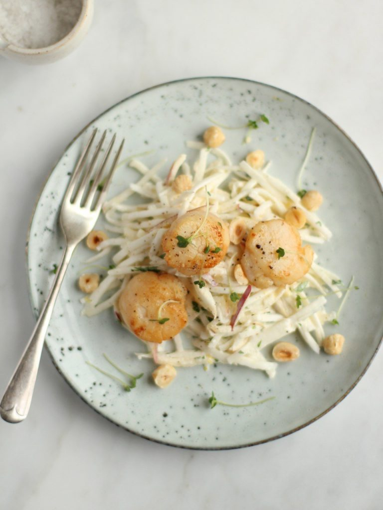 scallops with celeriac apple remoulade by Natural Kitchen Adventures for Simple and in Season on feedingboys.co.uk
