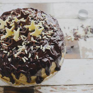 Coffee and Walnut Drip Cake with Dark Chocolate Ganache Topping on feedingboys.co.uk