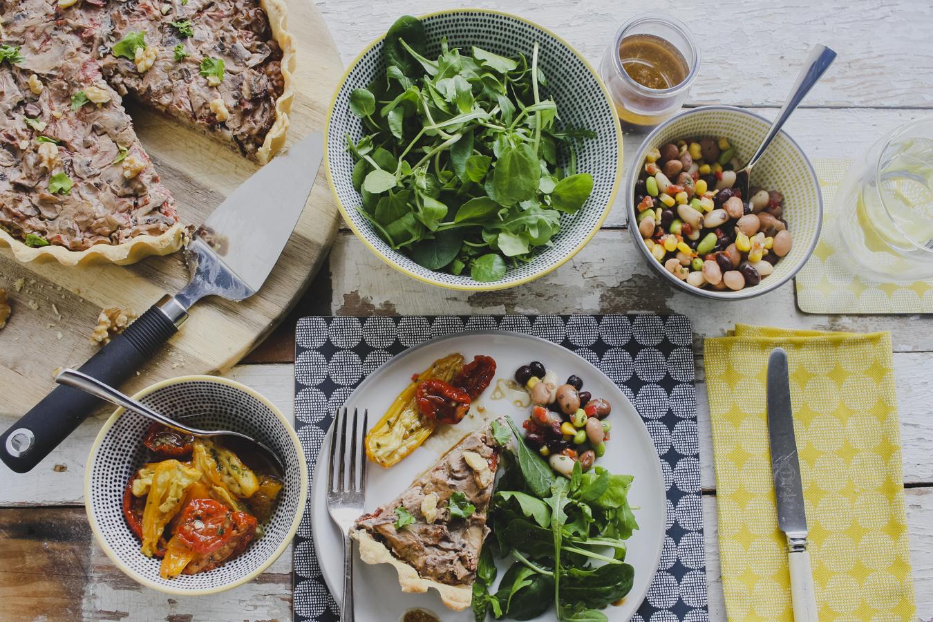 Vegan Mushroom, Roasted Pepper and Walnut Tart on feedingboys.co.uk