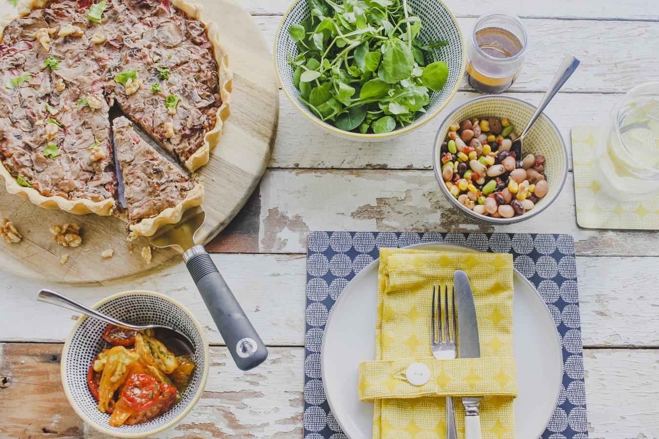 Vegan Mushroom, Pepper and Walnut Tart on feedingboys.co.uk
