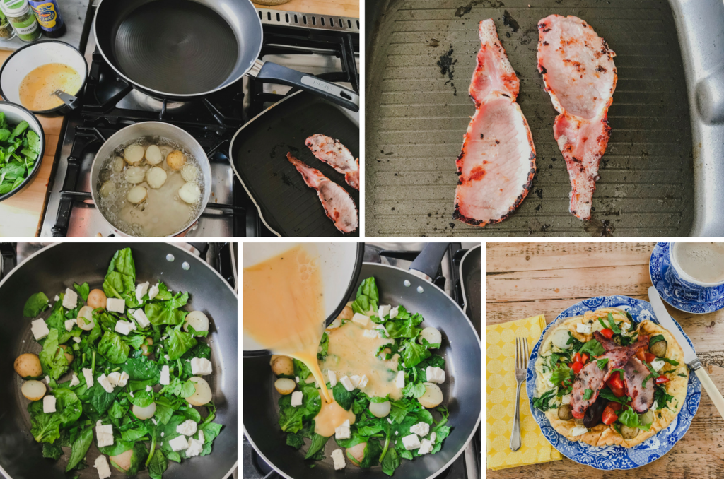Making Spinach and Feta Omelette with Crispy Bacon on feedingboys.co.uk