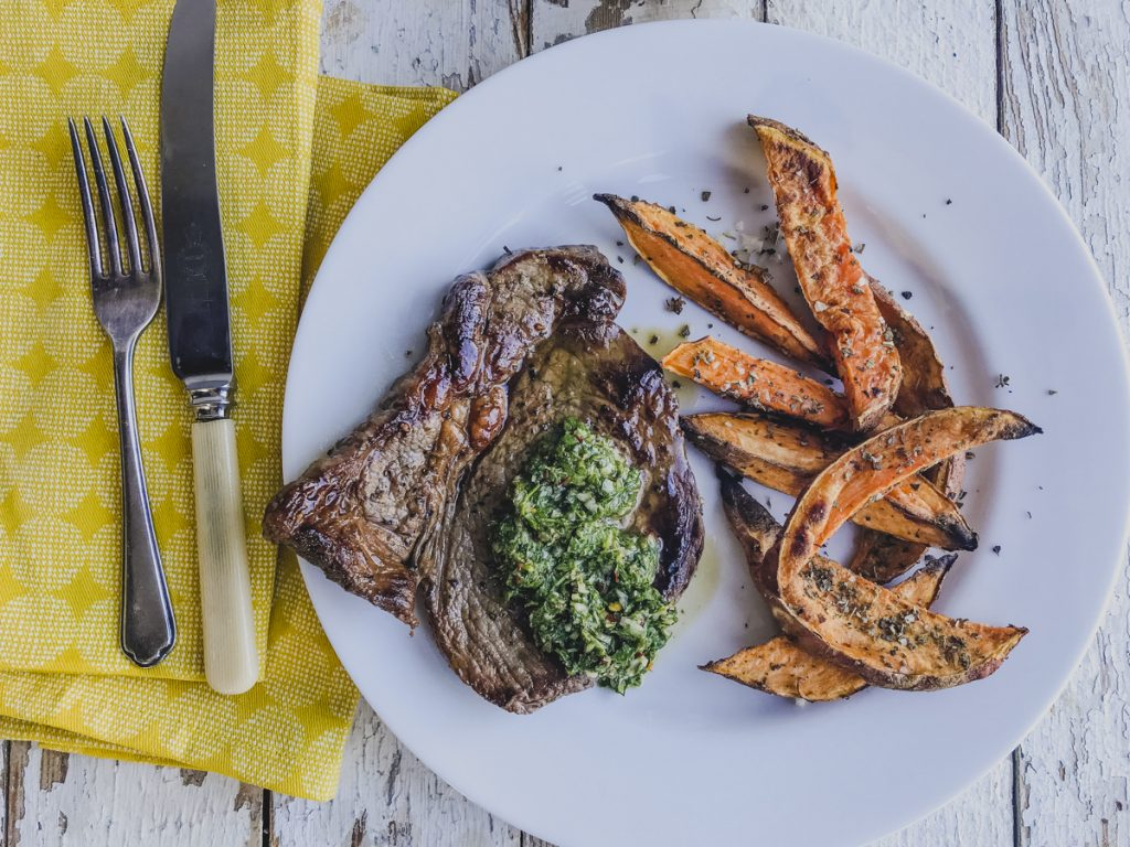 Griddled Steak with Chimichurri on feedingboys.co.uk