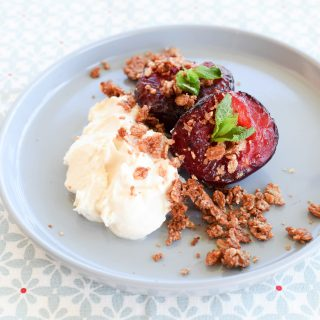 Roasted Plum Crumble on feedingboys.co.uk for Organic September