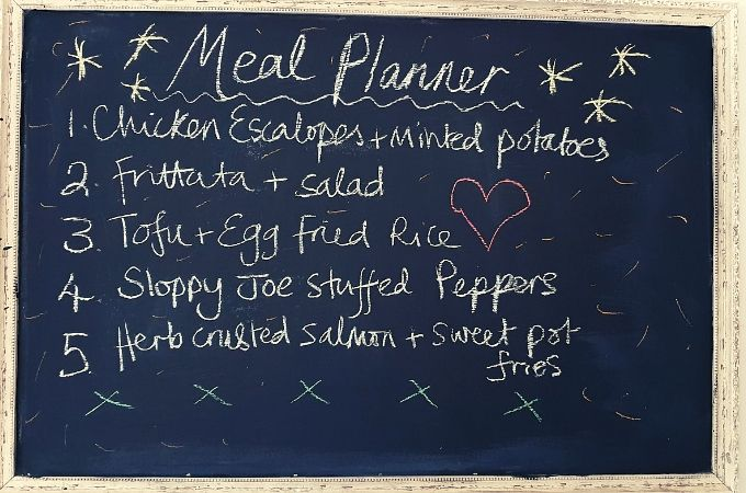 Meal planner blackboard